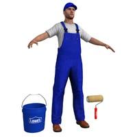 3d model paint worker man