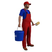 3d rigged paint worker 4 model