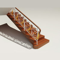 wooden staircase classic railings 3d model
