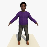 african boy albert rigged male 3d model