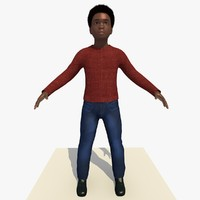 3d african boy laurence rigged male model