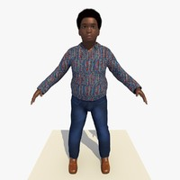 3d african boy rigged male model