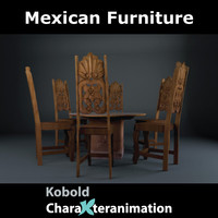 mexican table chair c4d