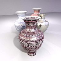 3d vase set vintage greek