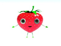 3d strawberry character rig