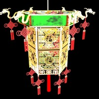 3d chinese red lantern model