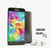 Samsung Galaxy S5 Black with headphones