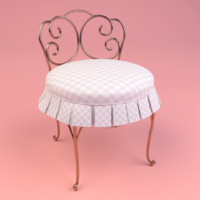 3d skirted vanity chair model