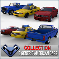 3d model of generic usa cars