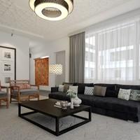 3d scene modern hotel suite model