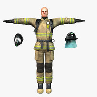 firefighter fireman human 3ds