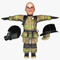 dwarf fireman human 3d model