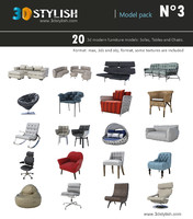 3d model 20 furniture pack