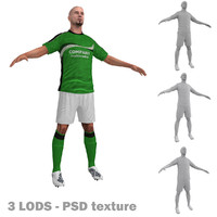 3d soccer player 3 model