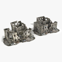 3d ruined building war model
