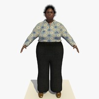 realistically african woman clothed 3d model