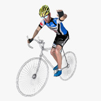 racing cyclist rigged 3d max