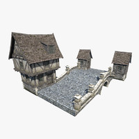fantasy medieval stone bridge 3d model
