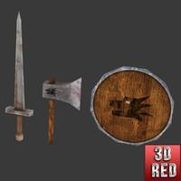 free handpainted medieval sword shield 3d model