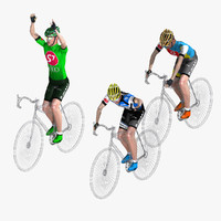 3d racing cyclist set rigged model