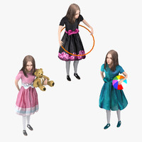 rigged kids set 3d model