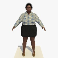 3d model realistically african woman clothed