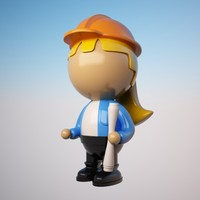 engineer character cartoon 3d max