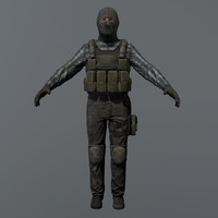 3d model ready terrorist rigged