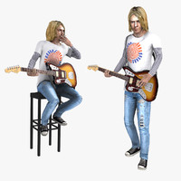 3d model rigged kurt cobain