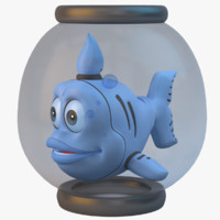 3d blue cartoon fish