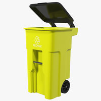 3d model recyling bin yellow