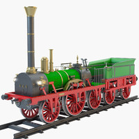 3d model 1835 adler steam locomotive