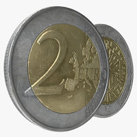 3d model 2 euro coins