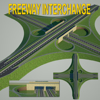 3d c4d freeway interchange