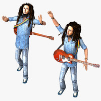 rigged bob marley 3d model