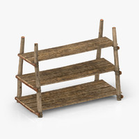 3d model antique primitive shelves