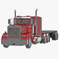 truck w900 flatbed trailer 3d 3ds