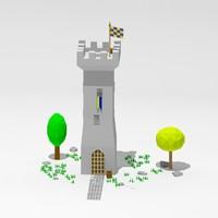 c4d cartoon tower