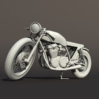 motorcycle cafe racer 3d model
