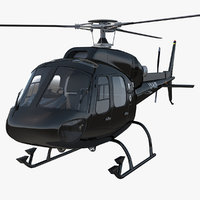 3d eurocopter 355 rigged model