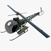 3d model of bell h-13 helicopter -