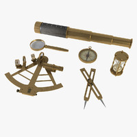 navigational sextant spyglasses magnifying glass 3d max