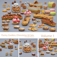 pastry cookie chocolate 3d obj