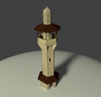 3d model arab building minaret