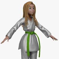 sculpt cartoon karate woman 3d obj