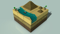 3ds max isometric ancient egypt landscape scene