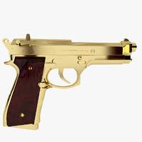 3d beretta m9 golden gun model