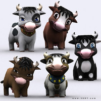 3d chibii - cow animals model
