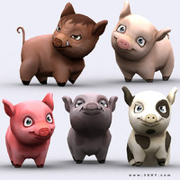 3d model chibii - pig animals
