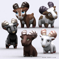 chibii - goat animals 3d 3ds